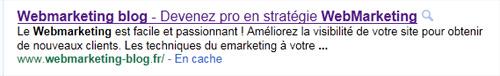 résultats de recherche pour Webmarketing-blog.fr sur Google